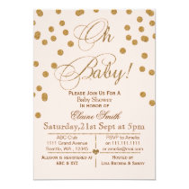 Glitter blush pink and gold baby shower invitation
