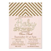 Glitter blush pink gold baby shower invitation