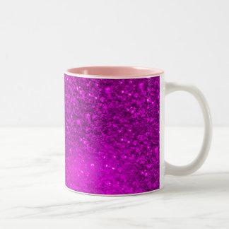 Glitter Bokeh, hot pink Two-Tone Coffee Mug