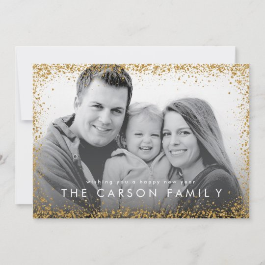 glitter border new year greeting faux gold glitter holiday card