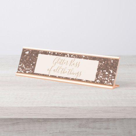 Glitter Boss Rose Gold Desk Name Plate