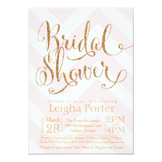 Glitter Bridal Shower Invitation Pink Gold Chevron