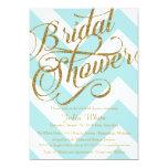 "Glitter Bridal Shower Invitation, Tiffany Chevron 5"" X 7"" Invitation Card"