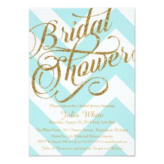 Glitter Bridal Shower Invitation, Tiffany Chevron 5x7 Paper Invitation Card
