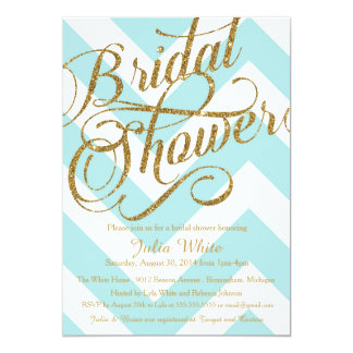 Glitter Bridal Shower Invitation, Tiffany Chevron Card