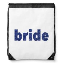 Glitter Bride Blue Drawstring Backpack