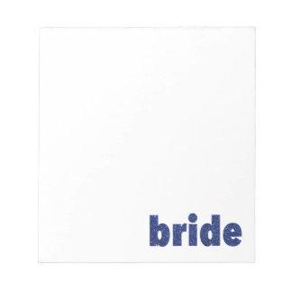 Glitter Bride Blue Notepad