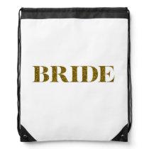 Glitter Bride Gold Drawstring Bag
