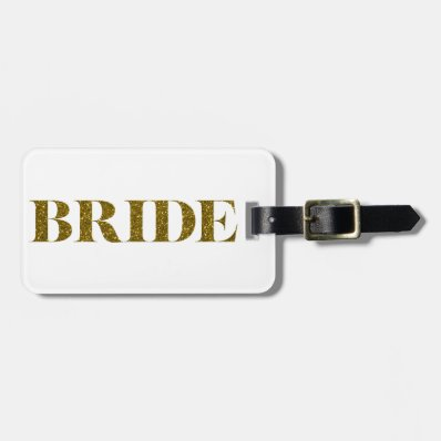 Glitter Bride Gold Travel Bag Tag