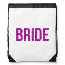 Glitter Bride Pink Drawstring Backpack