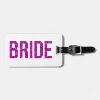 Glitter Bride Pink Luggage Tag