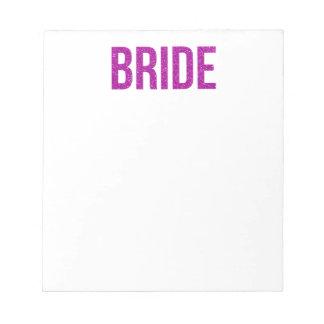 Glitter Bride Pink Notepad