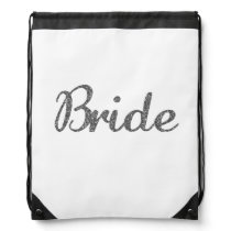 Glitter Bride Silver Drawstring Backpack