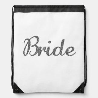 Glitter Bride Silver Drawstring Bags