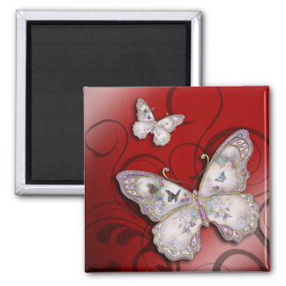 """""""Glitter Butterflies"""" (red) by Cheryl Daniels 2 Inch Square Magnet"""