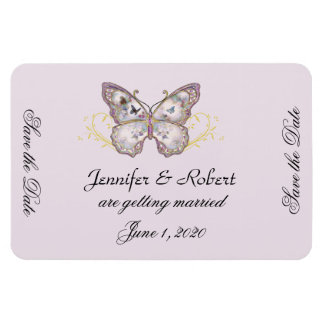 Glitter Butterfly Lavender Wedding Save the Date Rectangular Photo Magnet