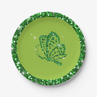 GLITTER Butterfly | lime emerald green Paper Plate