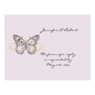 Glitter Butterfly on Lavender RSVP Postcard