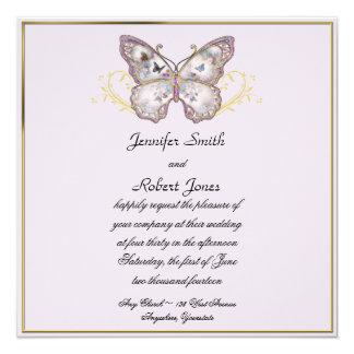 "Glitter Butterfly on Lavender Wedding Invitation 5.25"" Square Invitation Card"