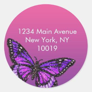 Glitter Butterfly Return Address Sticker