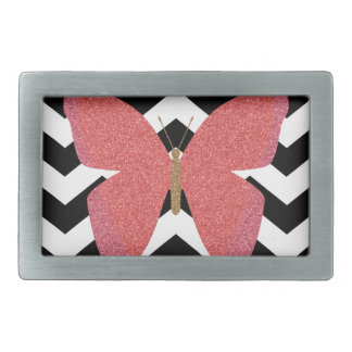 Glitter butterfly with black and white chevron belt buckle