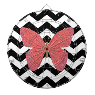 Glitter butterfly with black and white chevron dartboard