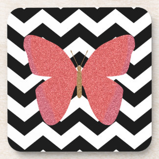 Glitter butterfly with black and white chevron drink coaster