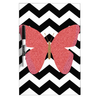 Glitter butterfly with black and white chevron dry erase board