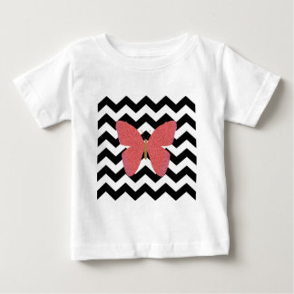Glitter butterfly with black and white chevron infant t-shirt