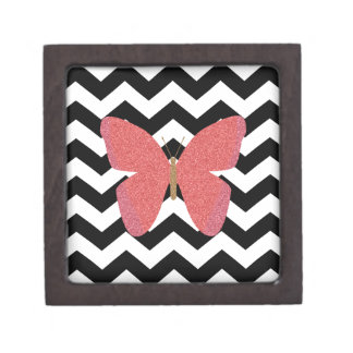 Glitter butterfly with black and white chevron jewelry box