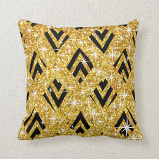 Glitter Caged Chevron Bling | gold Throw Pillow