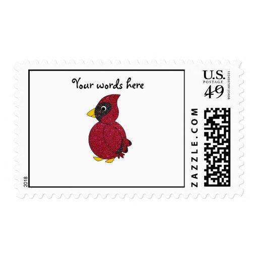Glitter cardinal postage stamp