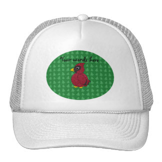 Glitter cardinal with green christmas trees patter trucker hat