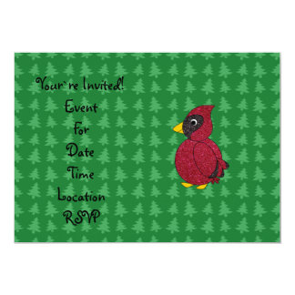 Glitter cardinal with green christmas trees patter custom announcements