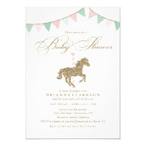 Glitter Carousel Horse | Baby Shower Invitation