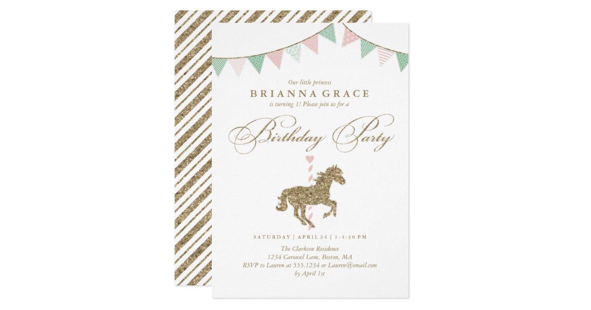 Glitter Carousel Horse Birthday Party Invitation – Horse Birthday Invitations