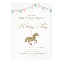 Glitter Carousel Horse | Birthday Party Invitation