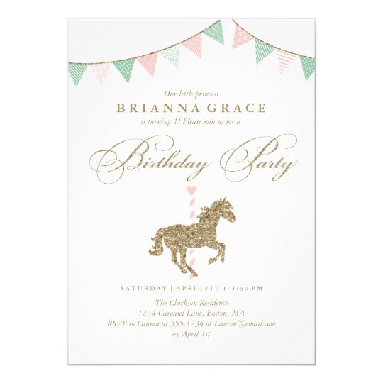 Glitter Carousel Horse Birthday Party Invitation Zazzlecom
