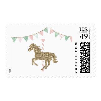 Glitter Carousel Horse Postage Stamp