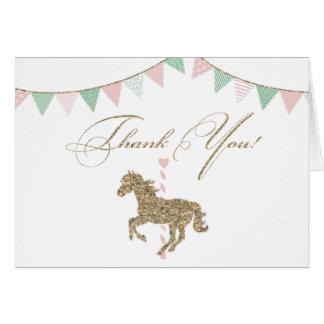 Glitter Carousel Horse | Thank You Card