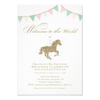 Glitter Carousel Horse | Welcome To The World Baby Card