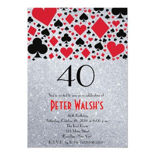 Glitter Casino Las Vegas 40th Birthday Invitation   Zazzle