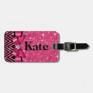Glitter Chevron Bling Diamond Bow | fuchsia Bag Tag