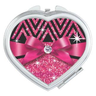 Glitter Chevron Bling Diamond Bow | fuchsia Compact Mirror