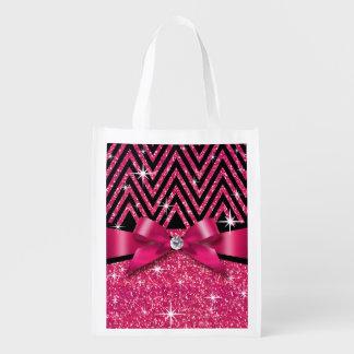 Glitter Chevron Bling Diamond Bow | fuchsia Grocery Bag