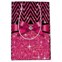 Glitter Chevron Bling Diamond Bow | fuchsia Medium Gift Bag