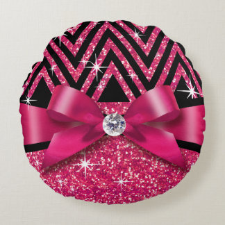 Glitter Chevron Bling Diamond Bow | fuchsia Round Pillow