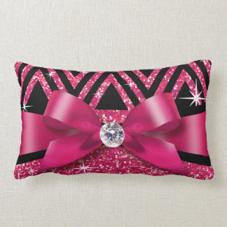 Glitter Chevron Bling Diamond Bow | fuchsia Throw Pillow