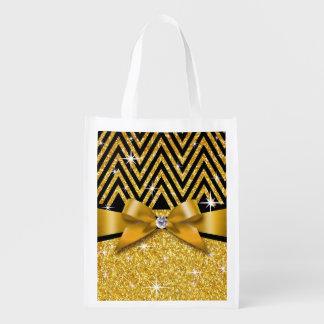 Glitter Chevron Bling Diamond Bow | gold Grocery Bag