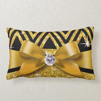 Glitter Chevron Bling Diamond Bow | gold Lumbar Pillow